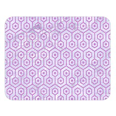 Hexagon1 White Marble & Purple Colored Pencil (r) Double Sided Flano Blanket (large)  by trendistuff