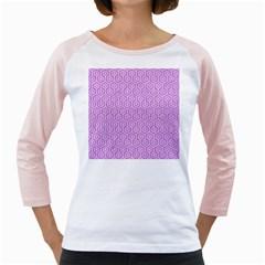 Hexagon1 White Marble & Purple Colored Pencil Girly Raglans