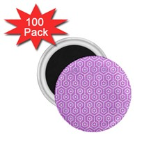 Hexagon1 White Marble & Purple Colored Pencil 1 75  Magnets (100 Pack)