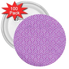Hexagon1 White Marble & Purple Colored Pencil 3  Buttons (100 Pack)