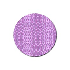 Hexagon1 White Marble & Purple Colored Pencil Rubber Round Coaster (4 Pack)