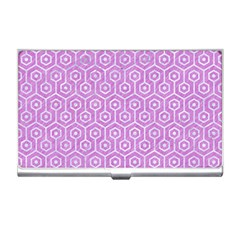 Hexagon1 White Marble & Purple Colored Pencil Business Card Holders