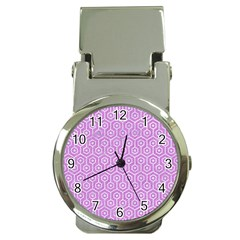 Hexagon1 White Marble & Purple Colored Pencil Money Clip Watches
