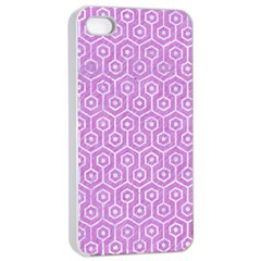 Hexagon1 White Marble & Purple Colored Pencil Apple Iphone 4/4s Seamless Case (white)