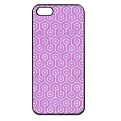 Hexagon1 White Marble & Purple Colored Pencil Apple Iphone 5 Seamless Case (black)
