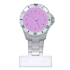 Hexagon1 White Marble & Purple Colored Pencil Plastic Nurses Watch