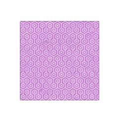 Hexagon1 White Marble & Purple Colored Pencil Satin Bandana Scarf