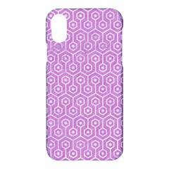 Hexagon1 White Marble & Purple Colored Pencil Apple Iphone X Hardshell Case