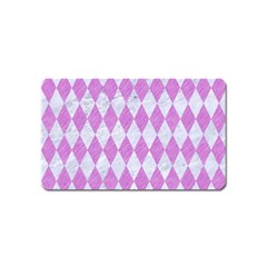 Diamond1 White Marble & Purple Colored Pencil Magnet (name Card)