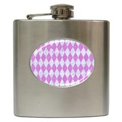 Diamond1 White Marble & Purple Colored Pencil Hip Flask (6 Oz)