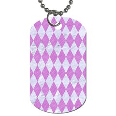 Diamond1 White Marble & Purple Colored Pencil Dog Tag (two Sides)