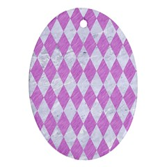Diamond1 White Marble & Purple Colored Pencil Oval Ornament (two Sides)