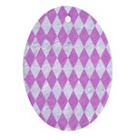 DIAMOND1 WHITE MARBLE & PURPLE COLORED PENCIL Oval Ornament (Two Sides) Back