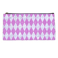 Diamond1 White Marble & Purple Colored Pencil Pencil Cases