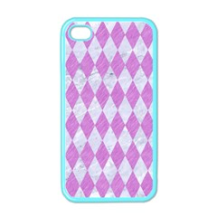 Diamond1 White Marble & Purple Colored Pencil Apple Iphone 4 Case (color)