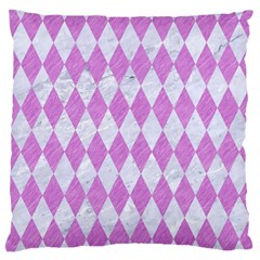 Diamond1 White Marble & Purple Colored Pencil Large Cushion Case (one Side) by trendistuff