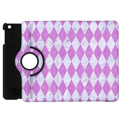 Diamond1 White Marble & Purple Colored Pencil Apple Ipad Mini Flip 360 Case