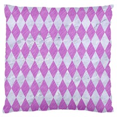 Diamond1 White Marble & Purple Colored Pencil Large Flano Cushion Case (two Sides)