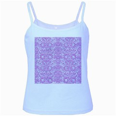 Damask2 White Marble & Purple Colored Pencil (r) Baby Blue Spaghetti Tank