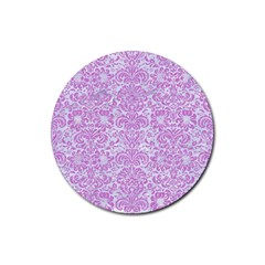 Damask2 White Marble & Purple Colored Pencil (r) Rubber Round Coaster (4 Pack)