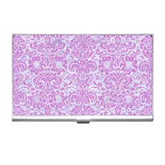 Damask2 White Marble & Purple Colored Pencil (r) Business Card Holders
