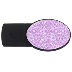 Damask2 White Marble & Purple Colored Pencil (r) Usb Flash Drive Oval (2 Gb)