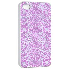 Damask2 White Marble & Purple Colored Pencil (r) Apple Iphone 4/4s Seamless Case (white)