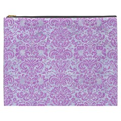 Damask2 White Marble & Purple Colored Pencil (r) Cosmetic Bag (xxxl)
