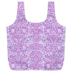 Damask2 White Marble & Purple Colored Pencil (r) Full Print Recycle Bags (l)