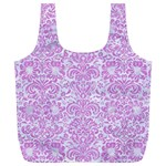 DAMASK2 WHITE MARBLE & PURPLE COLORED PENCIL (R) Full Print Recycle Bags (L)  Back