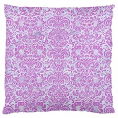 Damask2 White Marble & Purple Colored Pencil (r) Standard Flano Cushion Case (one Side)