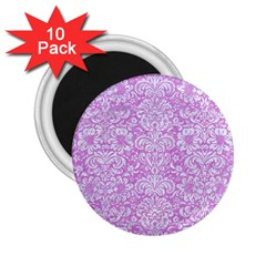 Damask2 White Marble & Purple Colored Pencil 2 25  Magnets (10 Pack)  by trendistuff