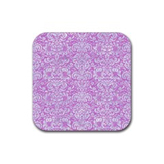Damask2 White Marble & Purple Colored Pencil Rubber Square Coaster (4 Pack)  by trendistuff