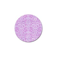 Damask2 White Marble & Purple Colored Pencil Golf Ball Marker