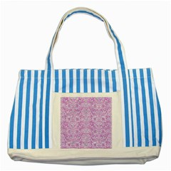 Damask2 White Marble & Purple Colored Pencil Striped Blue Tote Bag