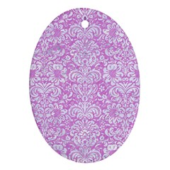 Damask2 White Marble & Purple Colored Pencil Oval Ornament (two Sides)