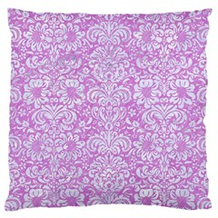 Damask2 White Marble & Purple Colored Pencil Large Cushion Case (two Sides)