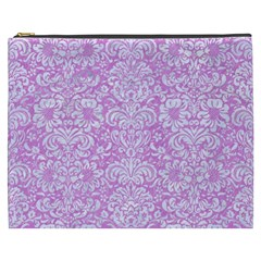 Damask2 White Marble & Purple Colored Pencil Cosmetic Bag (xxxl)
