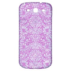 Damask2 White Marble & Purple Colored Pencil Samsung Galaxy S3 S Iii Classic Hardshell Back Case