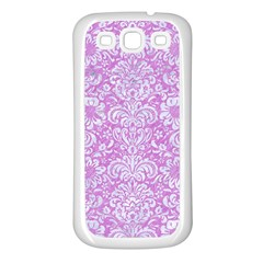Damask2 White Marble & Purple Colored Pencil Samsung Galaxy S3 Back Case (white)