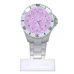 Damask2 White Marble & Purple Colored Pencil Plastic Nurses Watch