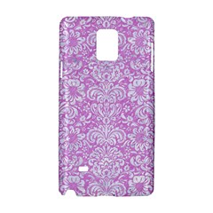 Damask2 White Marble & Purple Colored Pencil Samsung Galaxy Note 4 Hardshell Case