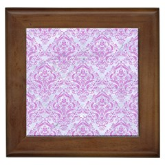 Damask1 White Marble & Purple Colored Pencil (r) Framed Tiles