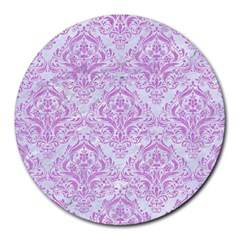 Damask1 White Marble & Purple Colored Pencil (r) Round Mousepads