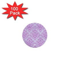 Damask1 White Marble & Purple Colored Pencil (r) 1  Mini Buttons (100 Pack)