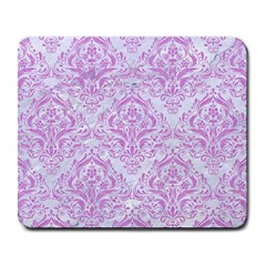 Damask1 White Marble & Purple Colored Pencil (r) Large Mousepads
