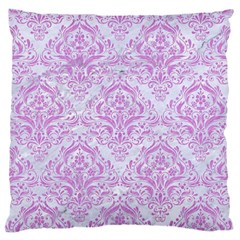 Damask1 White Marble & Purple Colored Pencil (r) Large Cushion Case (one Side)