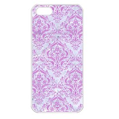 Damask1 White Marble & Purple Colored Pencil (r) Apple Iphone 5 Seamless Case (white)