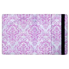 Damask1 White Marble & Purple Colored Pencil (r) Apple Ipad 3/4 Flip Case