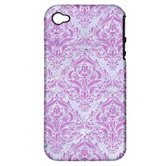 Damask1 White Marble & Purple Colored Pencil (r) Apple Iphone 4/4s Hardshell Case (pc+silicone)